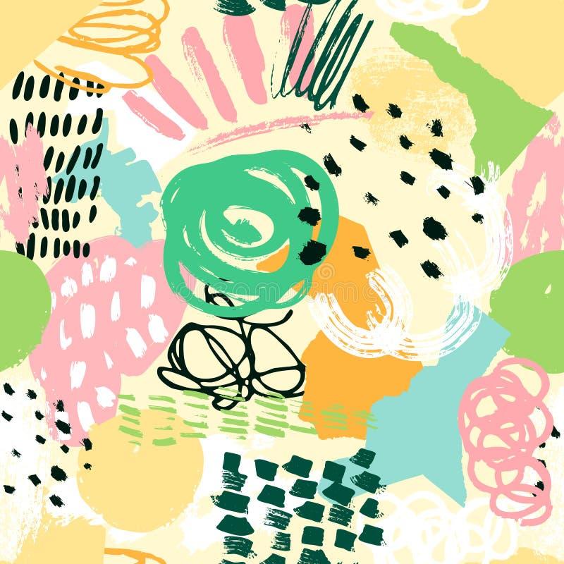 Dragen sömlös bakgrund för modellcollage hand abstrakt textur vektor illustrationer