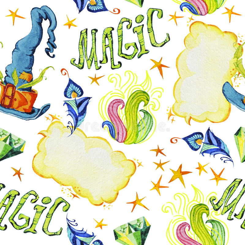 Dragen sömlös modell för vattenfärg konstnärlig hand med uppsättningen av magiska beståndsdelar på vit bakgrund stock illustrationer