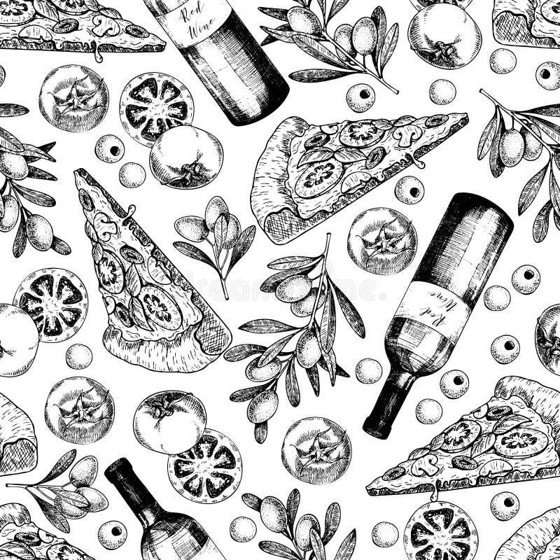 Dragen sömlös modell för vektor hand av pizza, vin, oliv och tomaten italienska matlagningmatingredienser Hand dragen uppsättning stock illustrationer