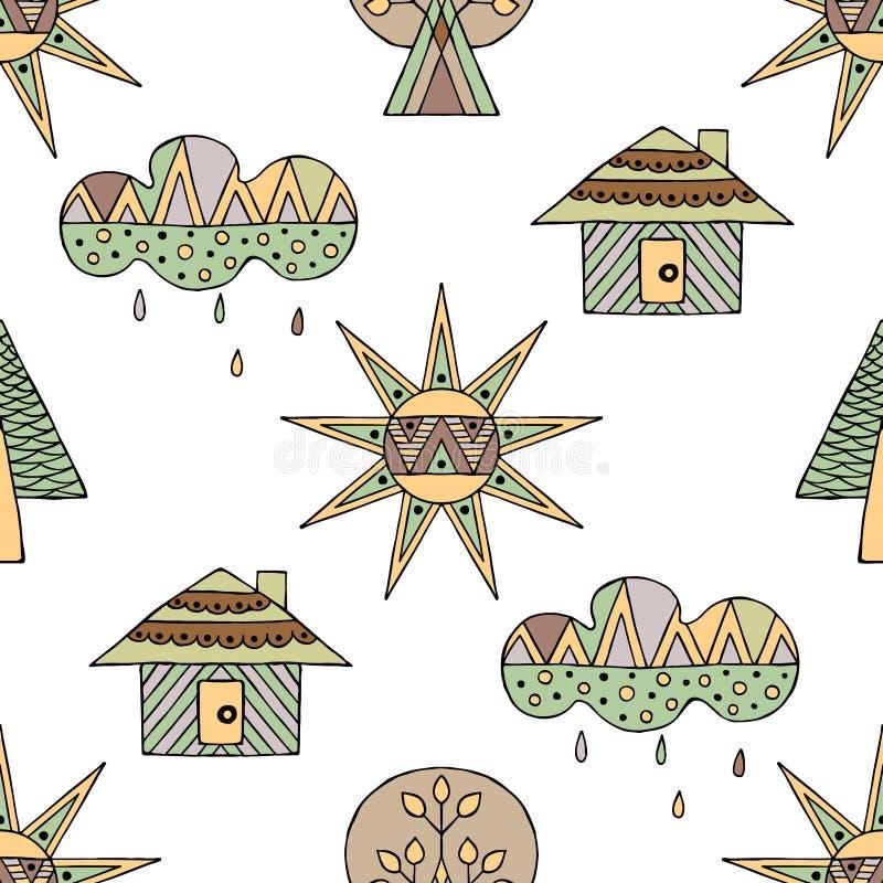 Dragen sömlös modell för vektor hand, dekorativt stiliserat barnsligt hus, träd, sol, moln, regnklotterstil, grafisk illustration stock illustrationer