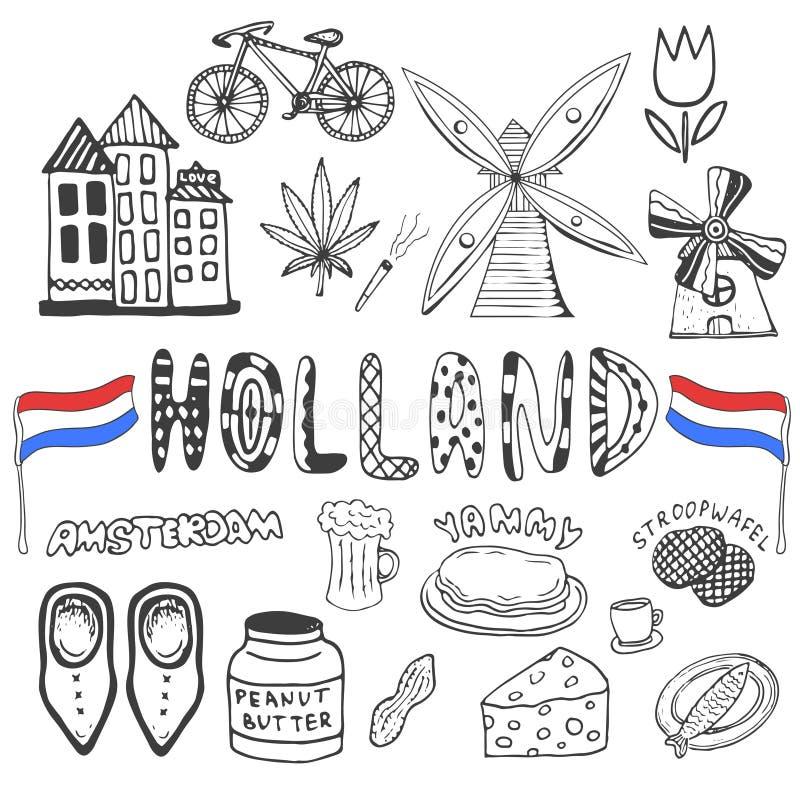 Dragen samling för klotter hand av Holland symboler Nederländernakulturbeståndsdelar för design Vektorillustration med loppobjekt royaltyfri illustrationer
