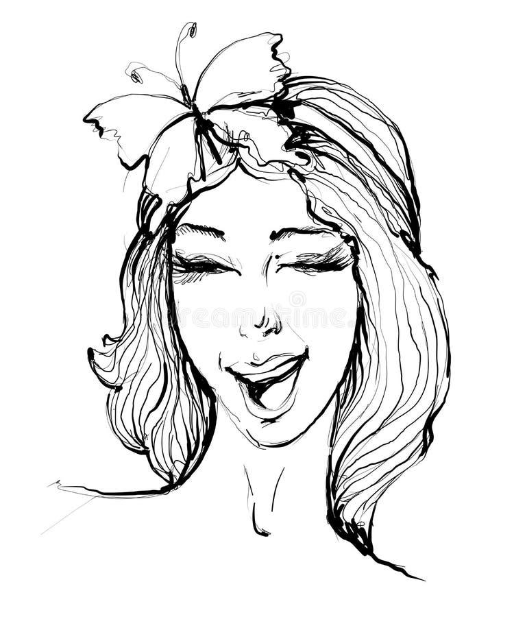 Dragen stående för vektor hand av den stilfulla flickan som blinkar med leende och fjärilen på hår på vit bakgrund royaltyfri illustrationer