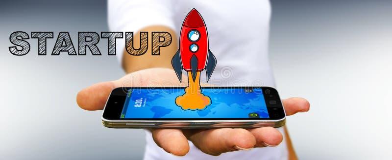 Dragen startup text för affärsmaninnehav hand över hans mobila phon stock illustrationer
