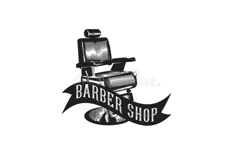 dragen stol för tappning planlägger handen som barberaren shoppar logo, inspiration som isoleras på vit bakgrund vektor illustrationer