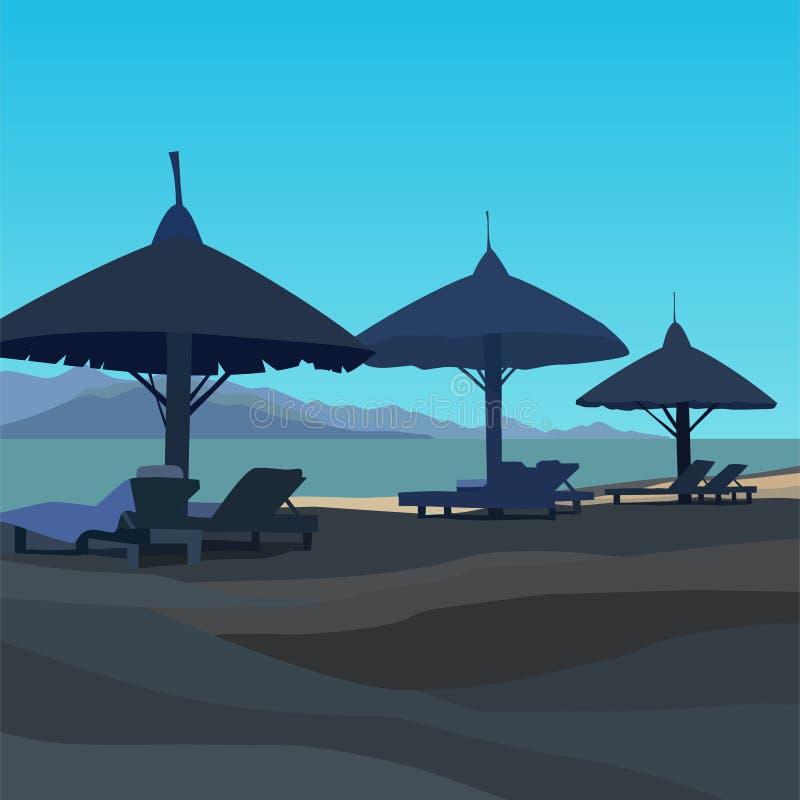 Dragen strand med sunbeds och paraplyer i blåa färger stock illustrationer