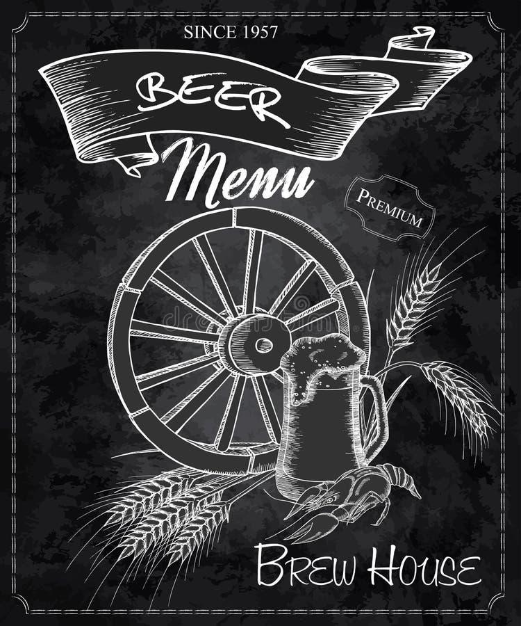 Dragen svart tavla för vektor hand med ölmenyn Innehåller hjulet, öl rånar, kräftan och öron av vete royaltyfri illustrationer