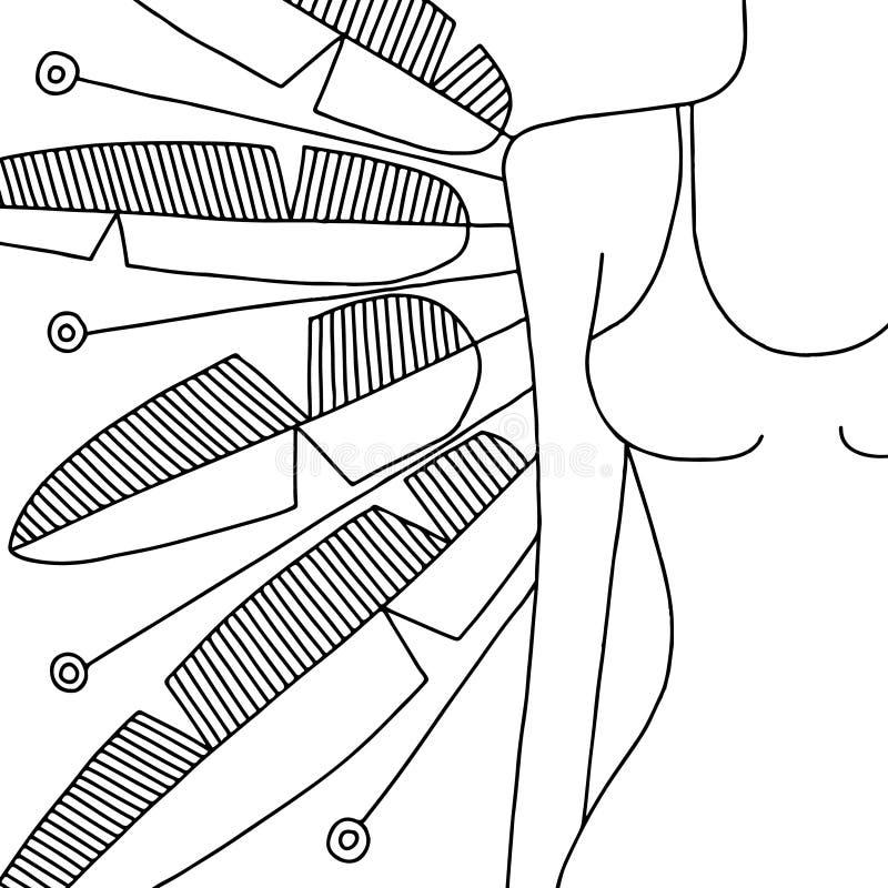 Dragen svartvit illustration för vektor hand av kvinnakroppen med dekorativt med vingar, fjädrar Bild för att färga Linje attrakt vektor illustrationer