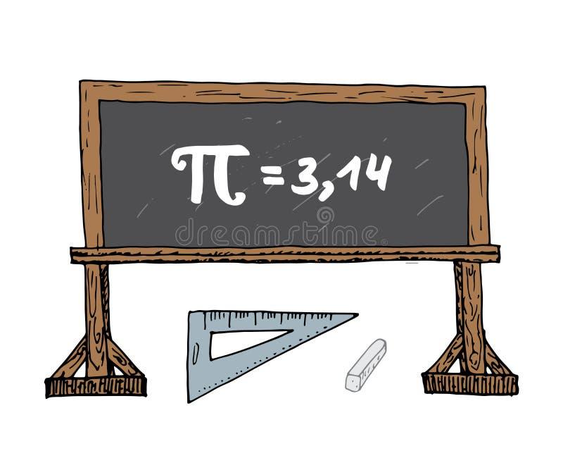 Dragen symbol för pisymbol hand, calligraphic matematiskt tecken för Grunge på illustrationen för skolablakboardvektor som isoler vektor illustrationer