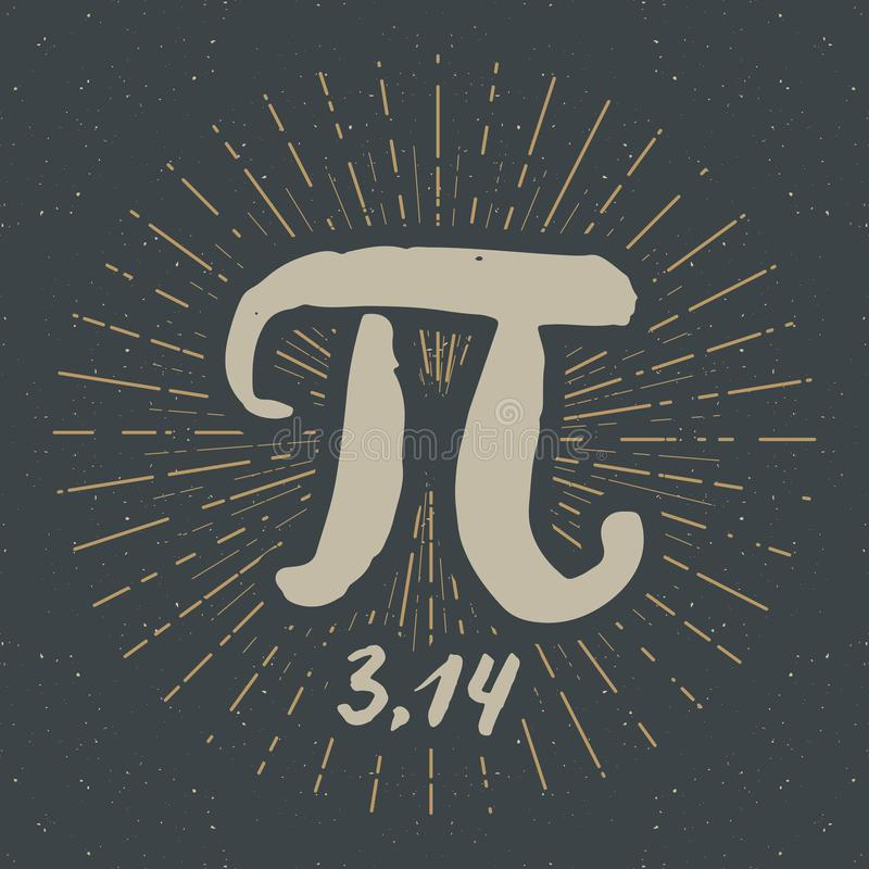 Dragen symbol för pisymbol hand, calligraphic matematiskt tecken för Grunge, vektorillustration vektor illustrationer