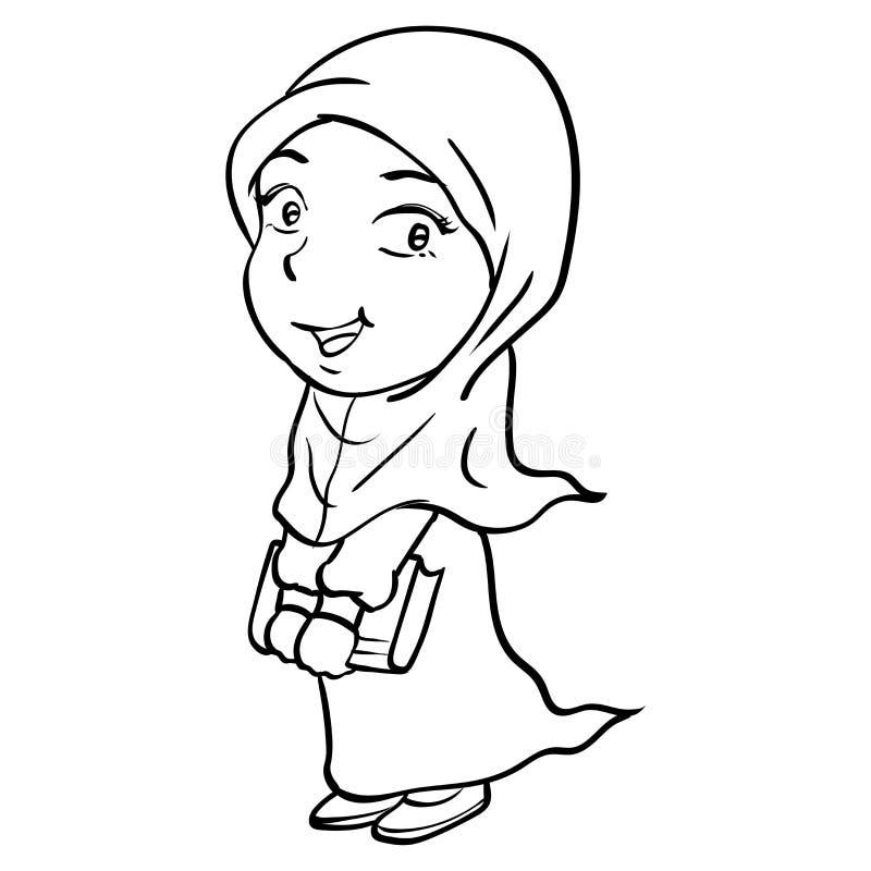 Dragen tecknad filmSmiley Muslim Girl Holding bok-vektor vektor illustrationer