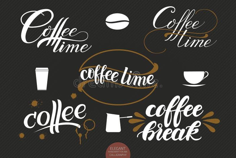 Dragen uppsättning av handen märka kaffe med fläckar elegantt vektor illustrationer