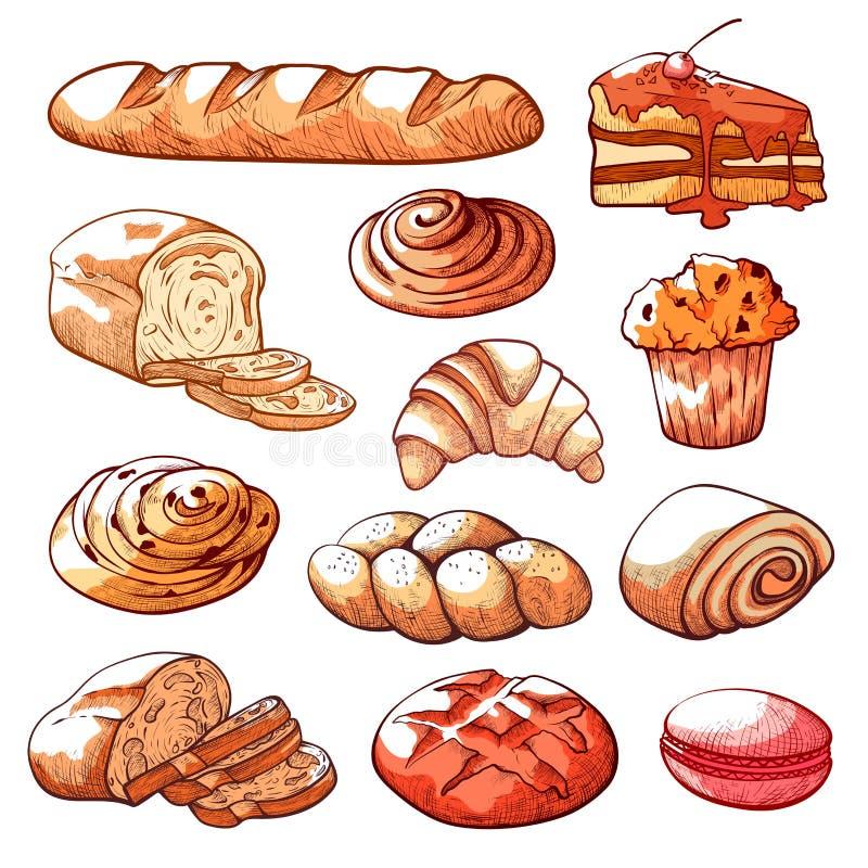 Dragen uppsättning för bageri- och bakelseprodukter hand stock illustrationer