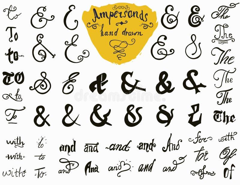 Dragen uppsättning för et-tecken och för slagordar hand för logo- och etikettdesigner Samling för symboler för tappningstil som h stock illustrationer