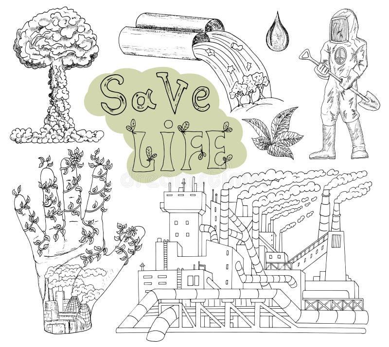 Dragen uppsättning för klotter hand med ecosymboler och symboler 2 royaltyfri illustrationer