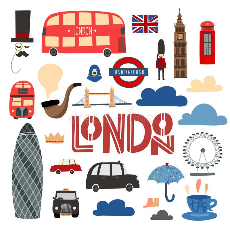 Dragen uppsättning för London symboler hand Bås, buss, tornbro, London öga etc. royaltyfri illustrationer
