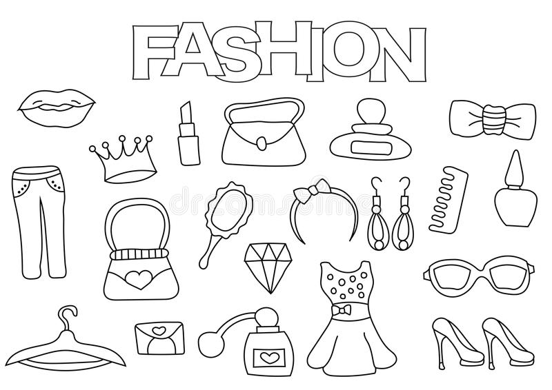 Dragen uppsättning för modebeståndsdelar hand Mall för färgläggningbok Översiktsklotter vektor illustrationer