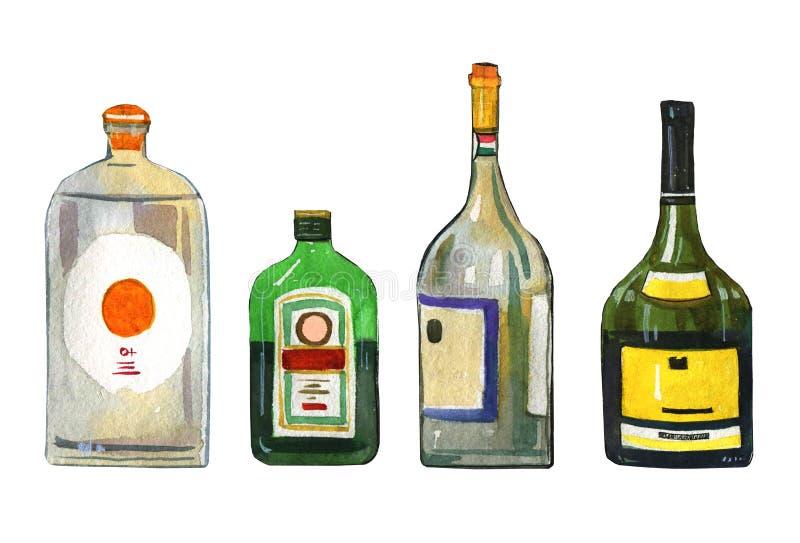 Dragen uppsättning för vattenfärg hand av fyra stiliserade alkoholflaskor royaltyfri illustrationer
