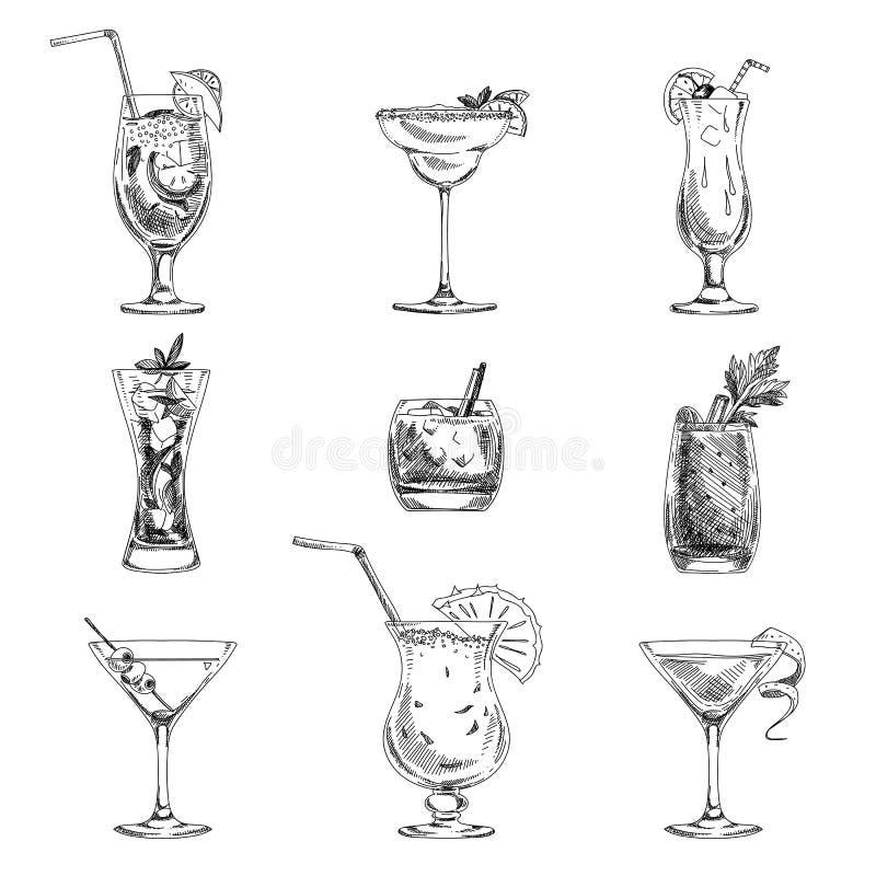 Dragen uppsättning för vektor hand av coctailar och alkohol stock illustrationer