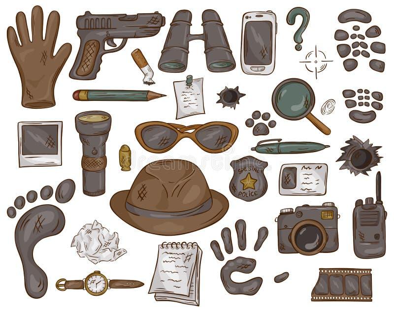 Dragen uppsättning för vektor hand av illustrationen med kriminalarehjälpmedel och tecken stock illustrationer