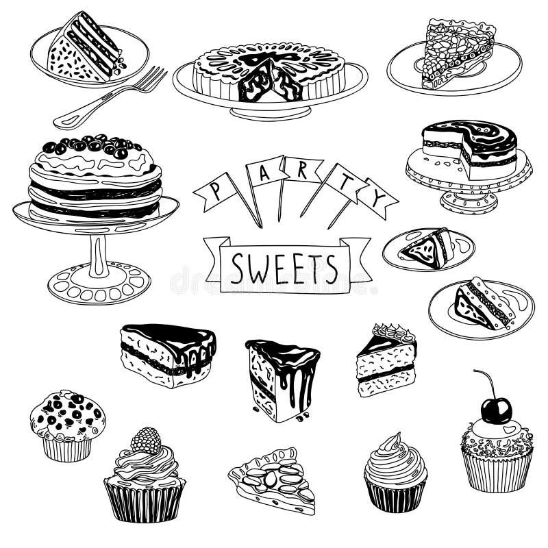 Dragen uppsättning för vektor hand med kakor och sötsaker stock illustrationer