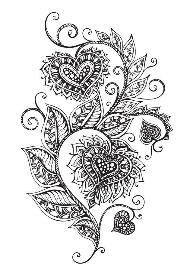 Dragen utsmyckad blom- modell för vektor hand i zentanglestil royaltyfri illustrationer