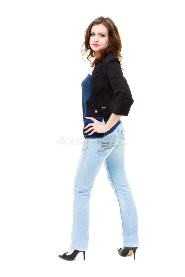 Dragen van de vrouw jeans royalty-vrije stock foto