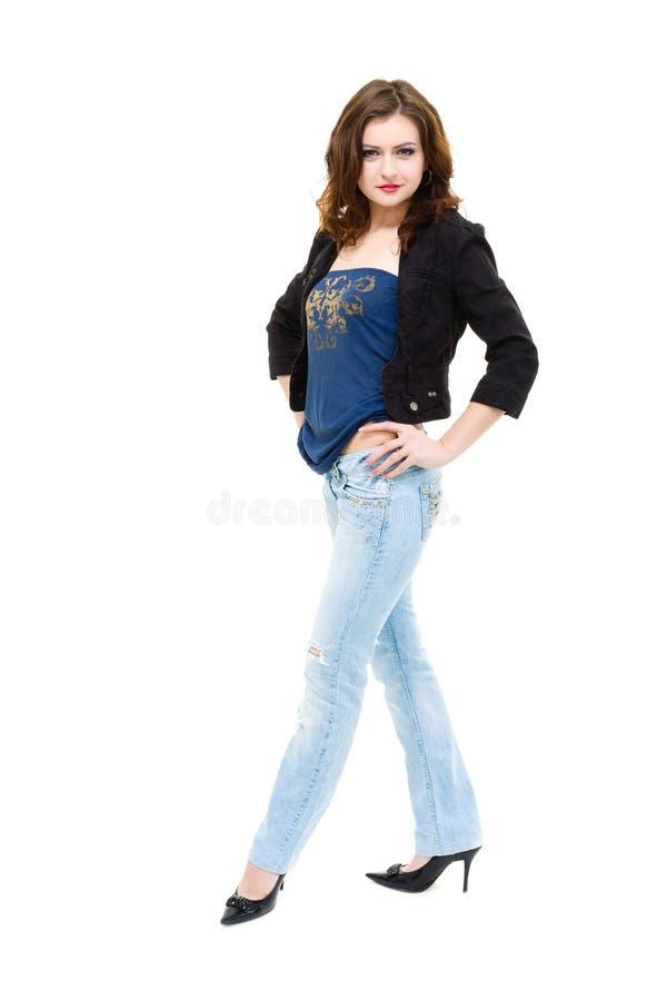 Dragen van de vrouw jeans royalty-vrije stock afbeelding
