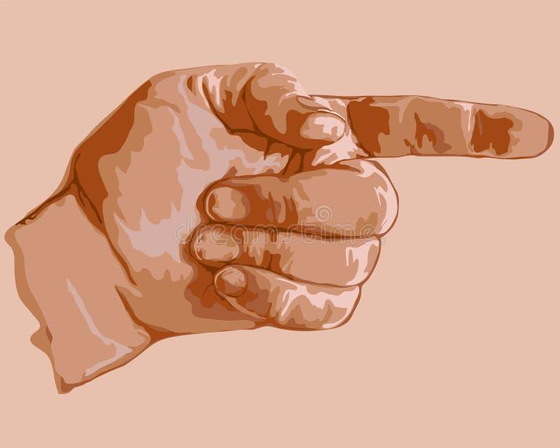 Dragen vektorhand indikera riktningen stock illustrationer