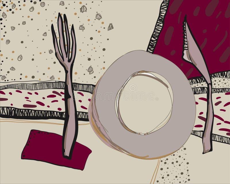 Dragen vektorillustration för bordsservis hand Dekorativt klotter av köksgeråd arkivfoto