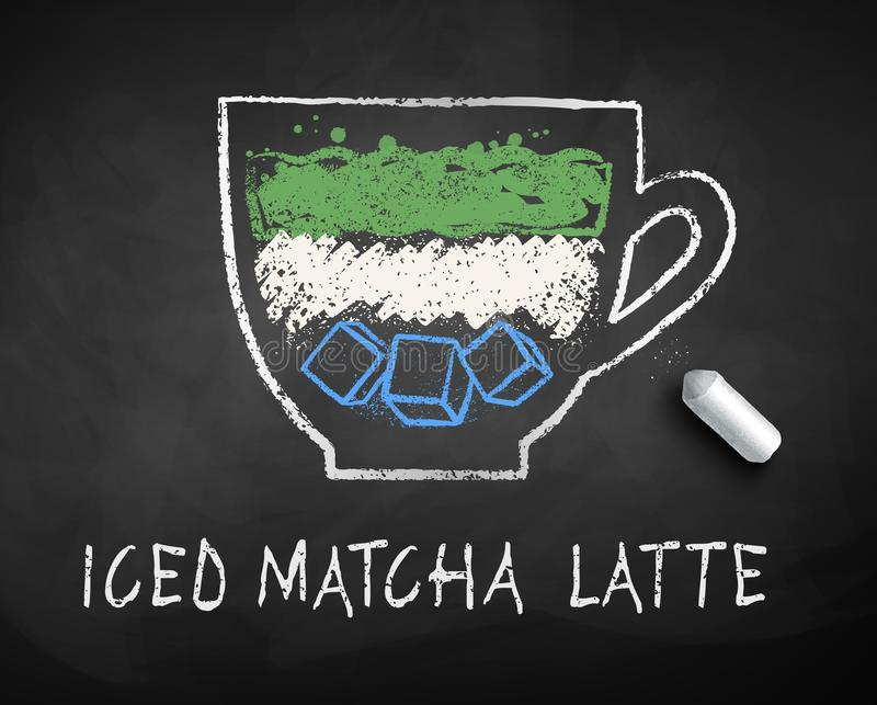 Dragen vektorkrita skissar av med is Matcha Latte royaltyfri illustrationer