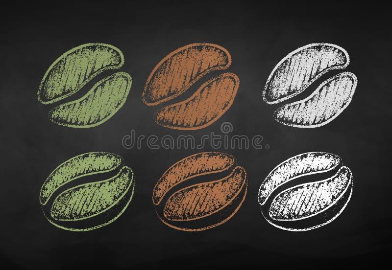 Dragen vektorkrita ställde in av bönor för ett kaffe stock illustrationer