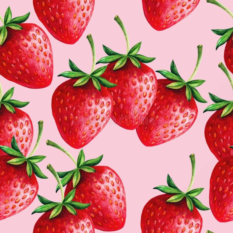 Dragen vektormodell för jordgubbar sömlös hand med rosa bakgrund royaltyfri illustrationer