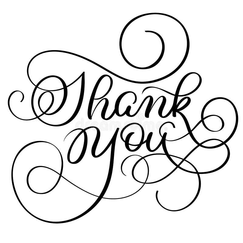 Dragen vektortext för tappning tackar handen dig på vit bakgrund Kalligrafibokstäverillustration EPS10 royaltyfri illustrationer