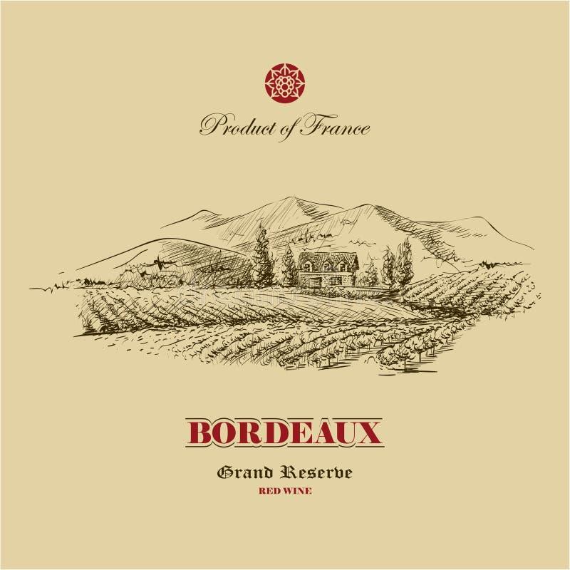 Dragen vingårdlandskaphand, mall för vinetikettdesign stock illustrationer