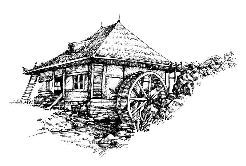 Dragen Watermill hand stock illustrationer
