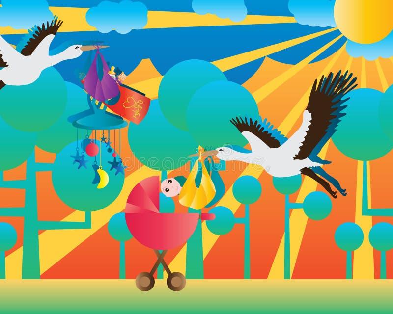 Dragende de baby vriendelijke illustratie van de kraanvogel royalty-vrije illustratie