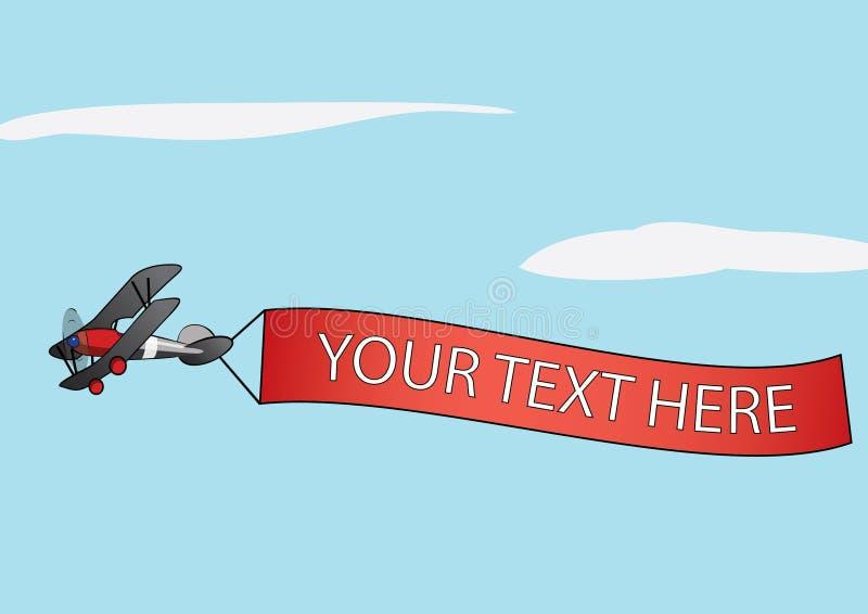Dragende de reclamebanner van het vliegtuig royalty-vrije illustratie