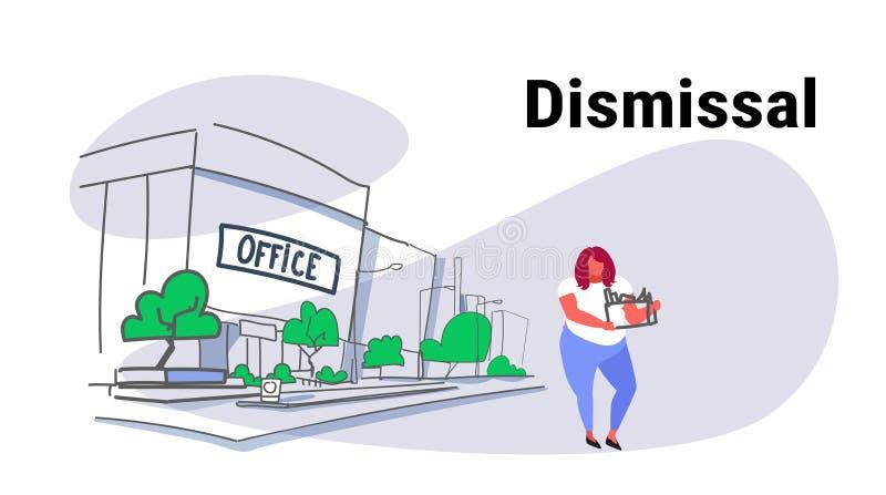 Dragende doos van de droefheids de te zware arbeider met crisis van de de vrouwen die werkloosheid van het dingenontslag de conce stock illustratie