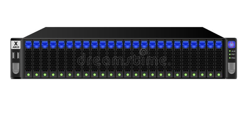 Drager-klasse server in zwarte voor steun van 19 duimrek met vierentwintig 2 5 duim harde aandrijving royalty-vrije illustratie