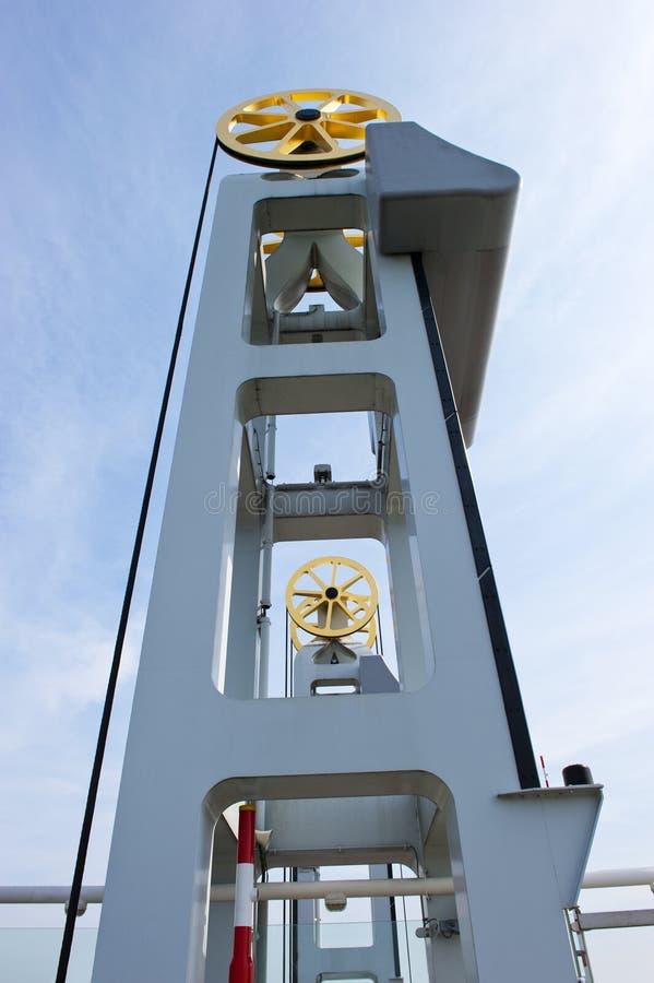 Drager met uitrusting van de IJssel-brug bij de stad van Kampen, t royalty-vrije stock fotografie