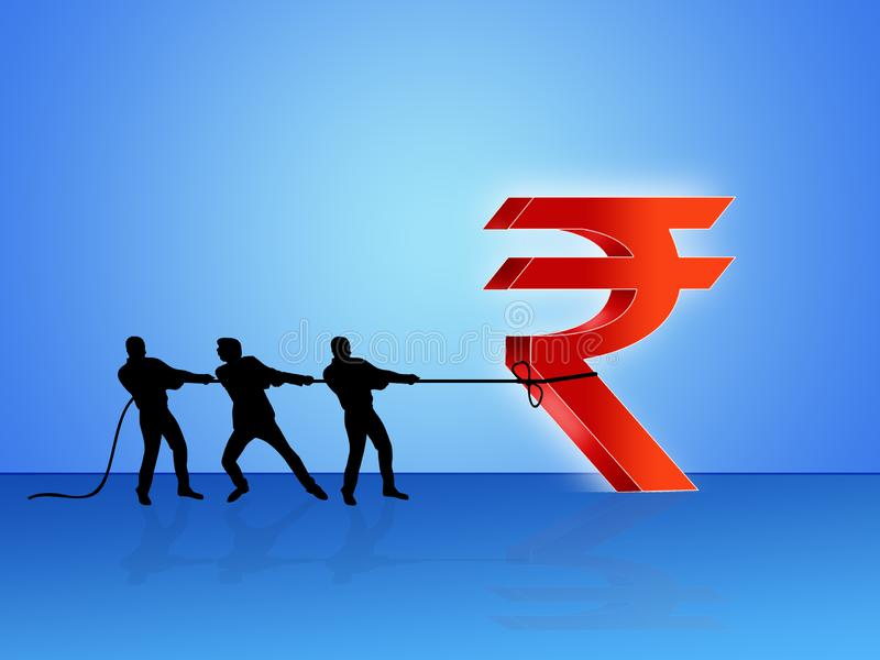Dragging Indian rupee symbol, India development, Indian Economy, Financial, business, profit making, illustration stock illustration