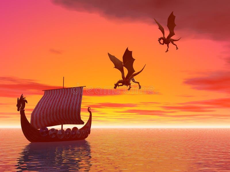 Draghi della nave del drago royalty illustrazione gratis