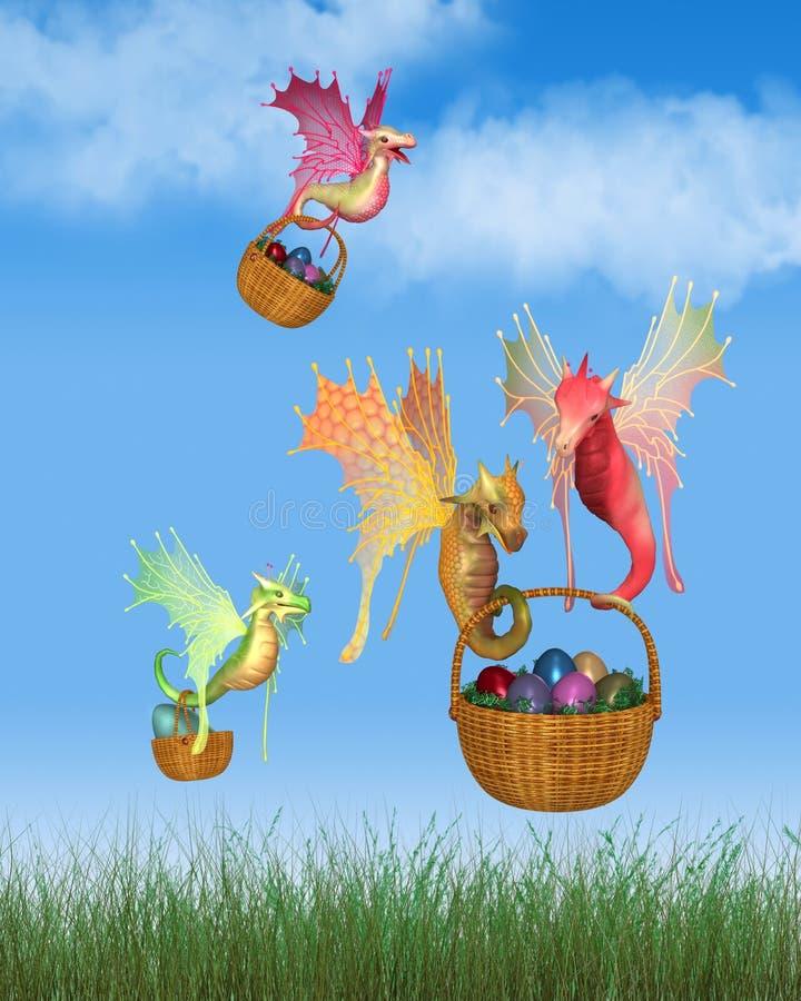 Draghi leggiadramente svegli che consegnano i canestri delle uova di Pasqua illustrazione vettoriale