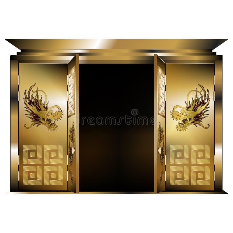 Draghi orientali tradizionali dell'oro del portone due porte aperte illustrazione di stock