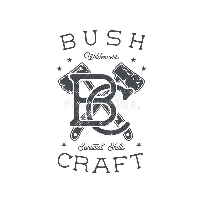 Dragit affärsföretagemblem och emblem för tappning hand Fotvandra etiketten Inspirerande logo för överlevnad Retro stil för typog royaltyfri illustrationer
