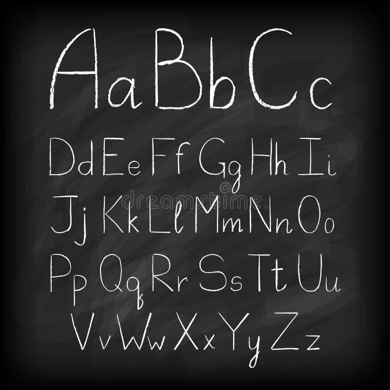 Dragit alfabet för kritabräde hand stock illustrationer
