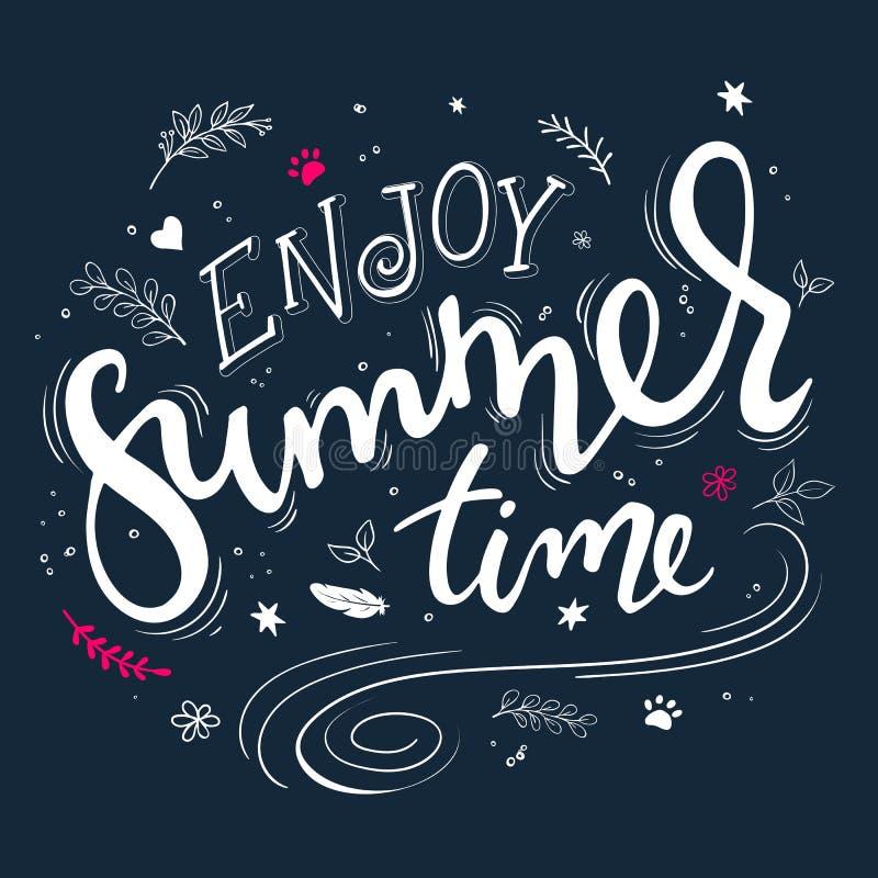 Dragit bokstävercitationstecken för vektor hand - tyck om sommartid - med dekorativa beståndsdelar - virvlar, krullar, filialer,  vektor illustrationer