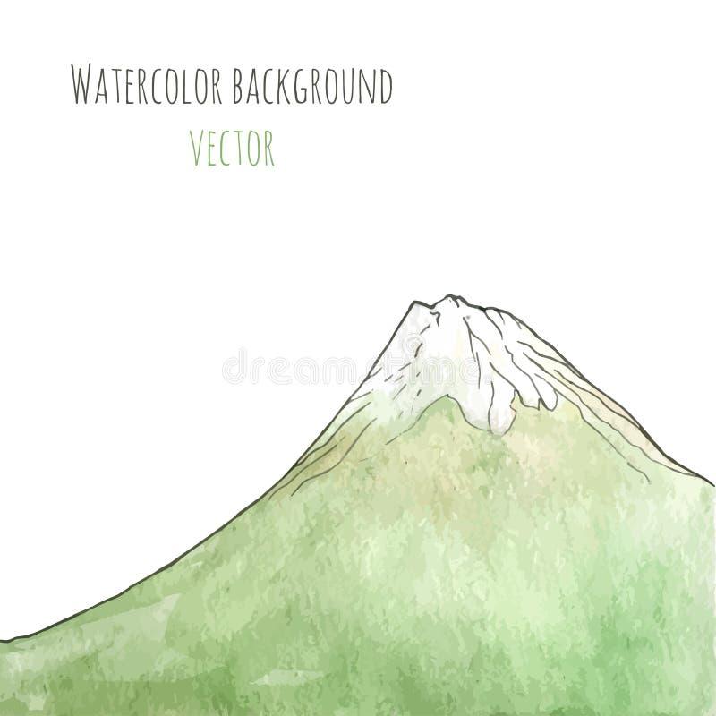 Dragit grönt berg för vattenfärg hand också vektor för coreldrawillustration Mall för affischen, räkning, advertizing, reklamblad stock illustrationer