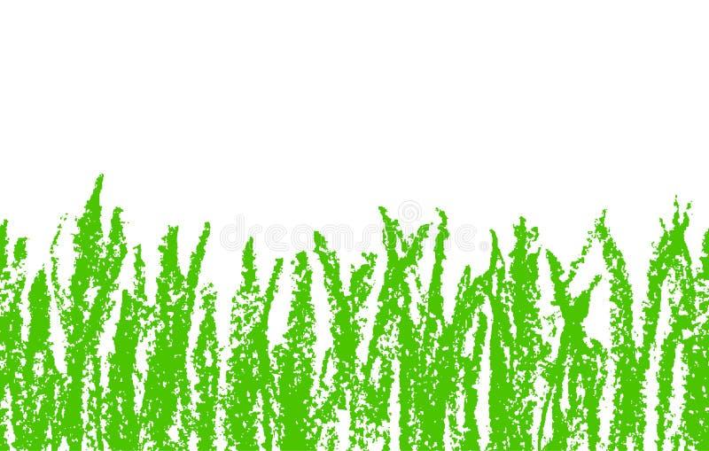 Dragit grönt gräs för vaxfärgpenna som hand isoleras på vit Sömlöst baner för bakgrund för unge` s dragit vektor illustrationer