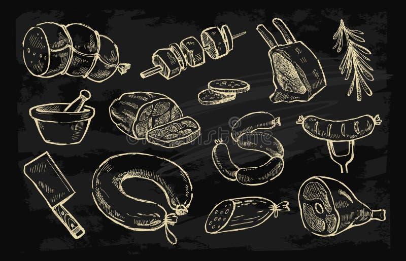 Dragit kött för vektor hand stock illustrationer